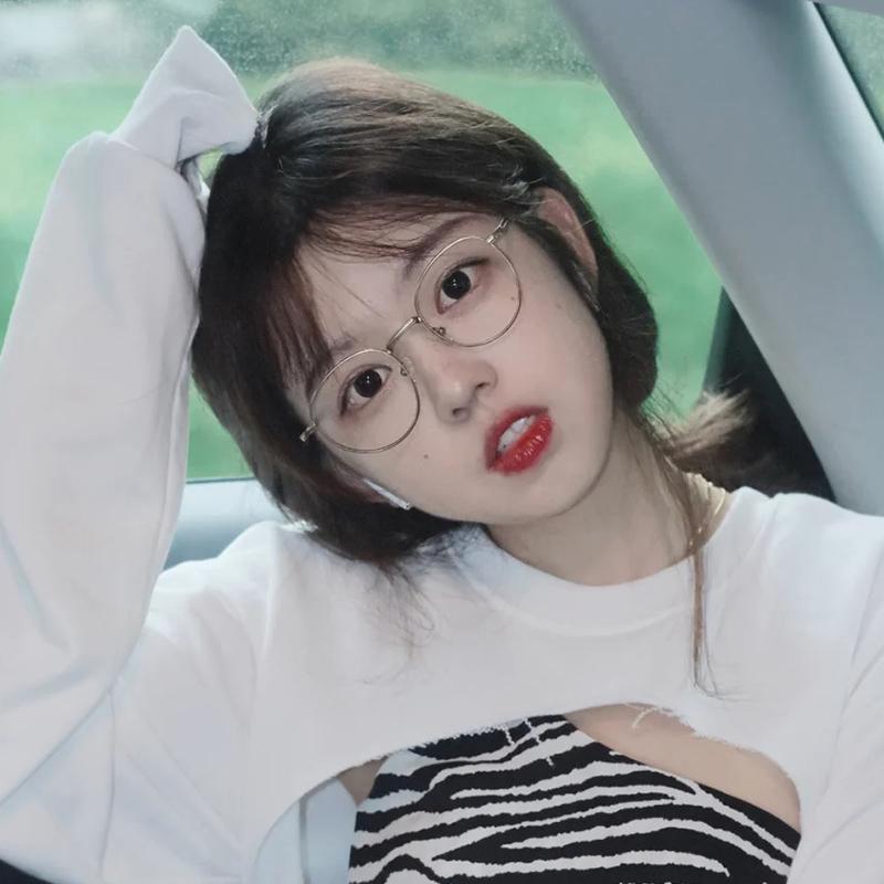 秀智同款眼镜女韩版潮素颜复古圆框防辐射抗蓝光近视眼睛可配度数