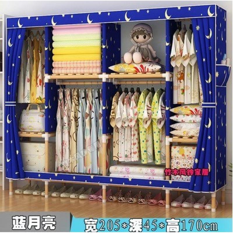 2.1米巨无霸实木简易布衣柜子超大容量双人衣柜特大号牛津布加大b