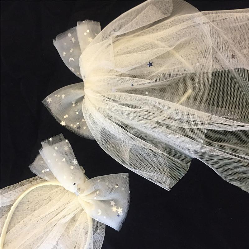 超仙网红同款蝴蝶结愿望发箍头箍头饰发夹长款婚纱头纱拍照道具