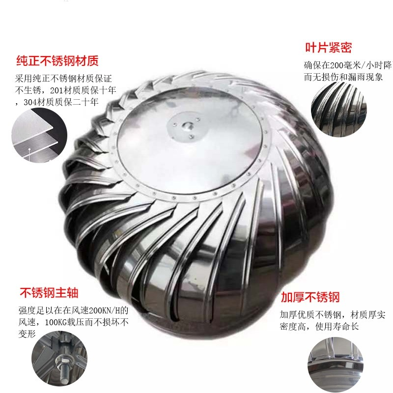 Zhudao 304 stainless steel non power hood air ball roof ventilator external wall air outlet 600 type automatic ventilation