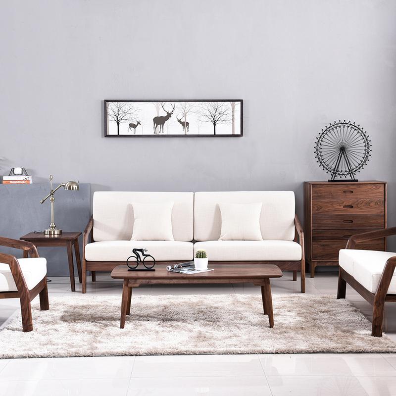 北欧の黒い胡桃の木のソファーの全実木の布芸の組み合わせの冬の夏の両用は簡単で現代的な小戸型の客間の家具を使います。