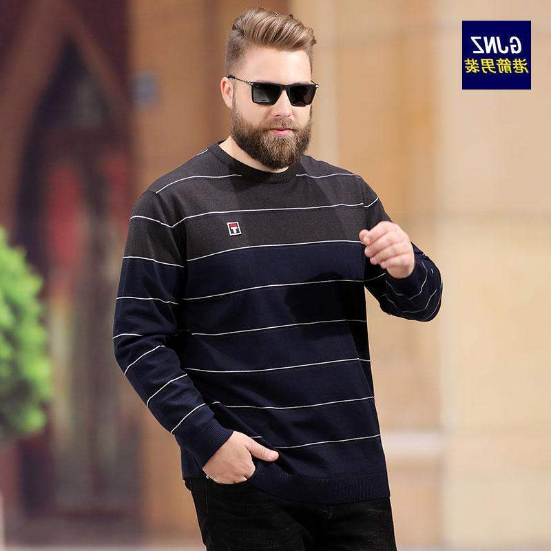 High end brand fattening and enlarging sweater mens loose autumn and winter thick style with sweater inside