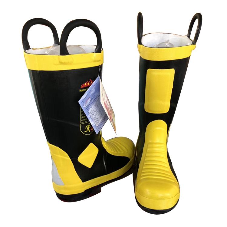 02消防鞋雨鞋灭火防护靴高筒钢板底钢包头防砸防穿刺安全橡胶水