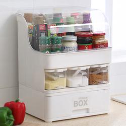 防油带盖调料盒置物架厨房多功能储物箱调味盒酱油醋瓶盐罐收纳架