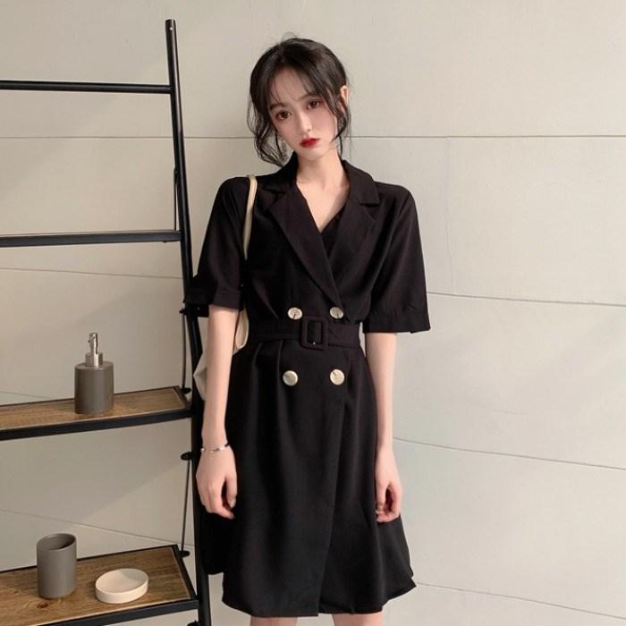 夏季法式复古很仙的裙子小清新双排扣收腰显瘦气质短袖连衣裙女装
