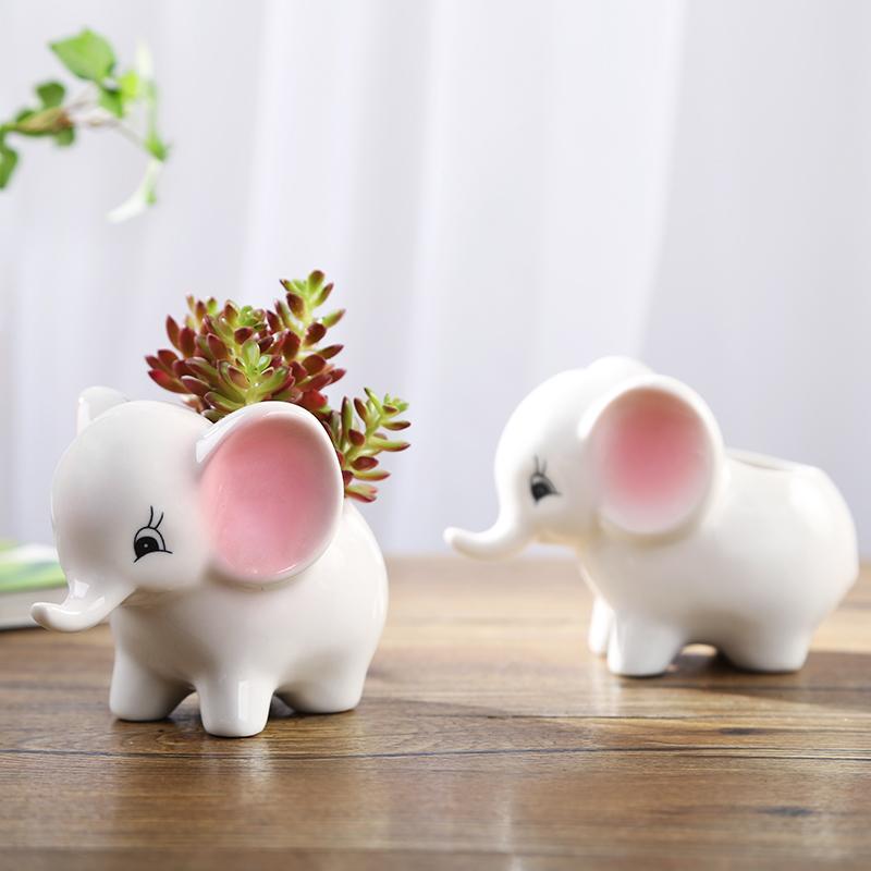 卡通可爱多肉花盆小号植物白色陶瓷创意个性简约特价清仓创意拇指