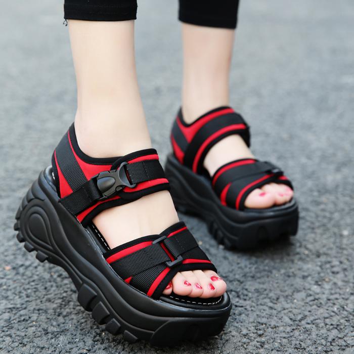 厚底凉鞋女2021夏季新款女鞋时尚坡跟松糕鞋韩版运动凉鞋沙滩鞋潮