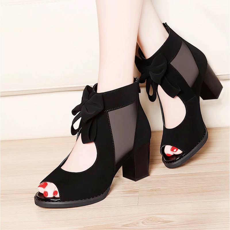 韩版高帮凉鞋女粗跟中跟罗马鞋黑色网纱女鞋时尚女凉鞋夏款高跟鞋