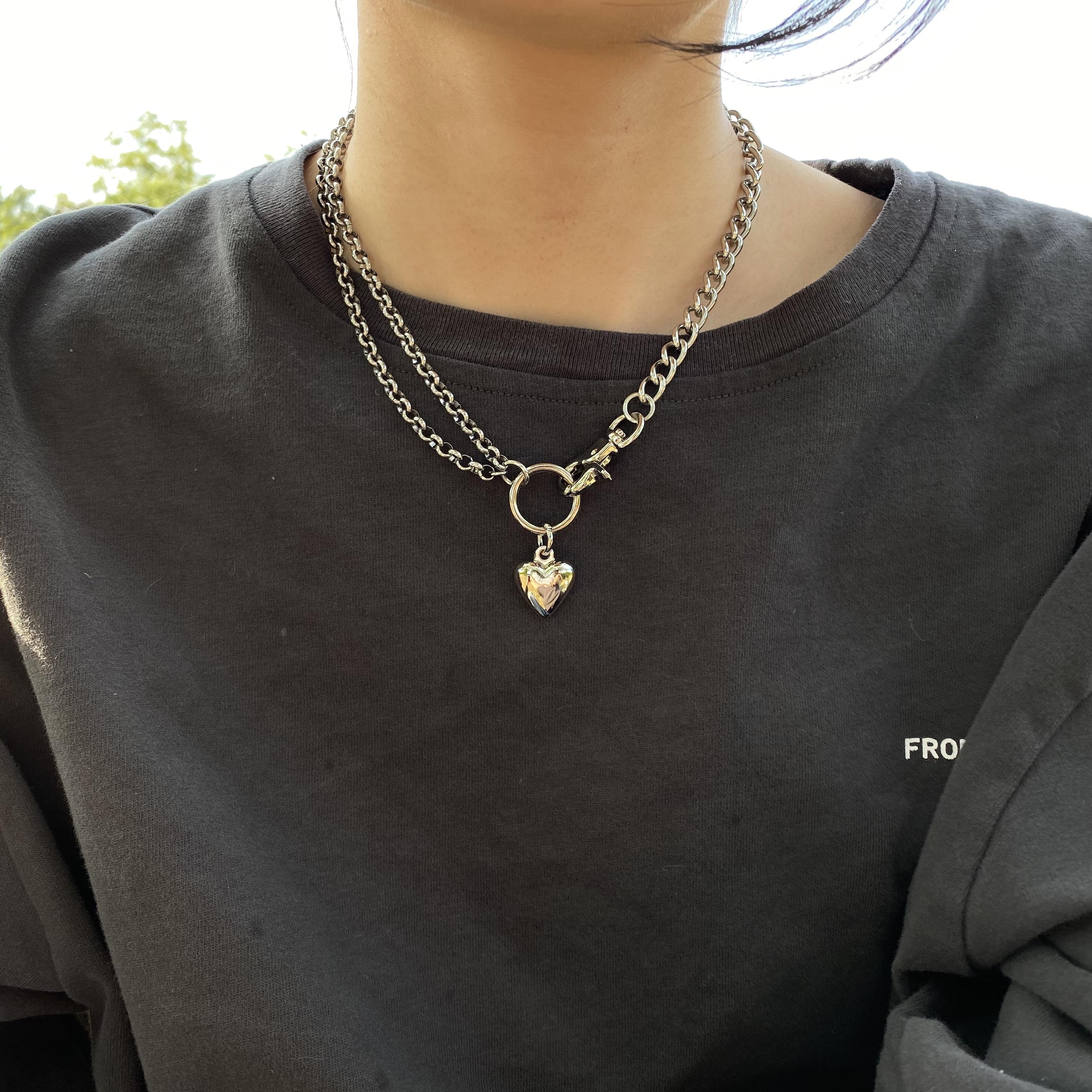 Multi level irregular Love Pendant Necklace splicing chain asymmetric neck chain niche Choker