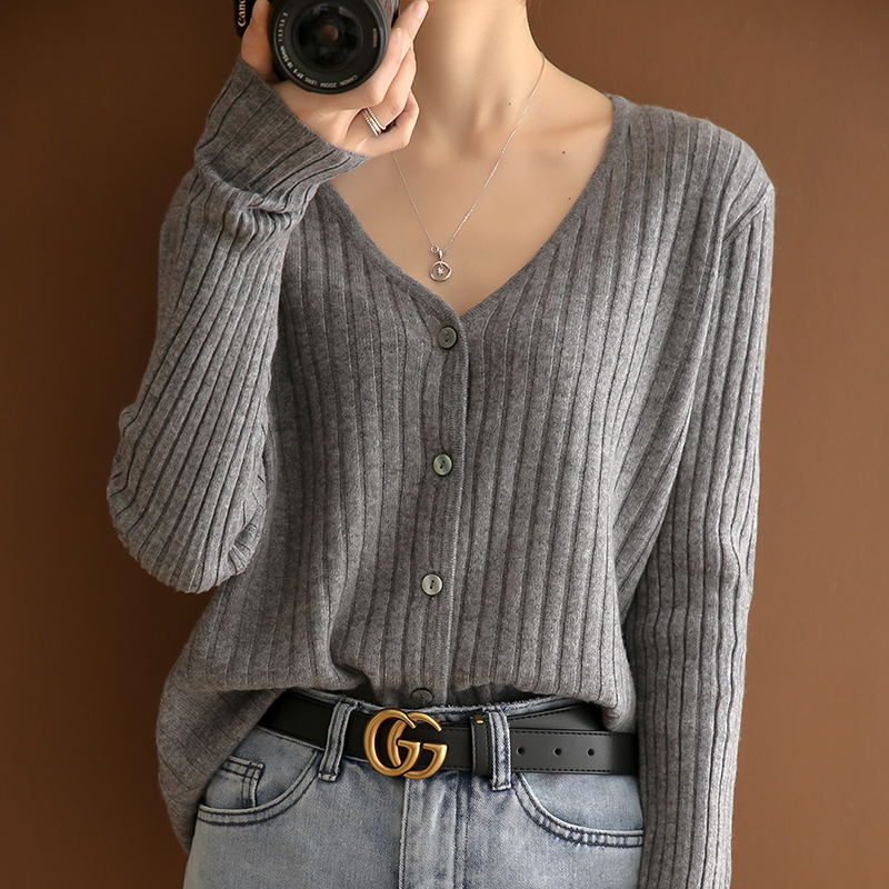 100 pure wool sweater jacket cardigan womens spring 2021 with Knitted Top thin high waist short