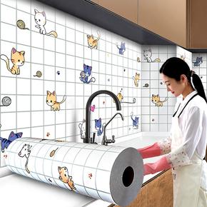 厨房防油贴纸耐高温自粘加厚橱柜灶台用防水防潮油烟机瓷砖墙面贴