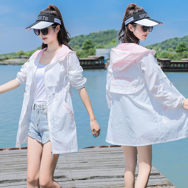 Sun proof clothing womens middle and long style new summer 2020 Korean thin versatile long sleeve embroidered sun proof clothes