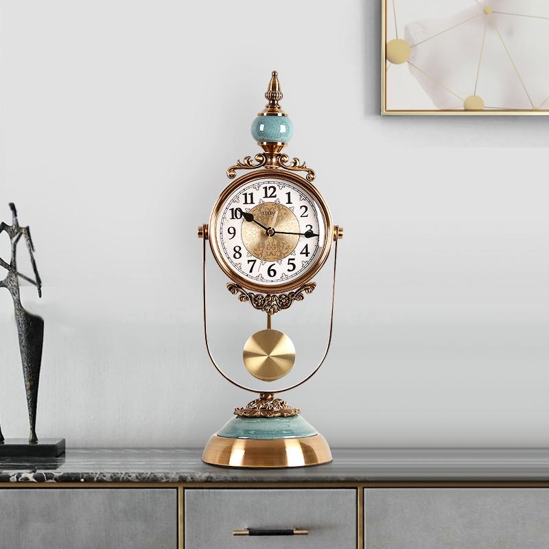 钟表摆件个性创意简约轻奢座钟北欧客厅时尚家用台式欧式台钟坐钟 Изображение 1