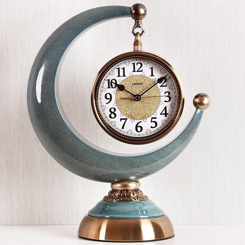 月牙钟表摆件客厅欧式简约现代座钟轻奢时尚个性创意台式时钟静音 Изображение 1