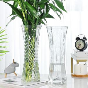 玻璃花瓶透明水养富贵竹百合花瓶摆件客厅插花干花北欧家用特大号