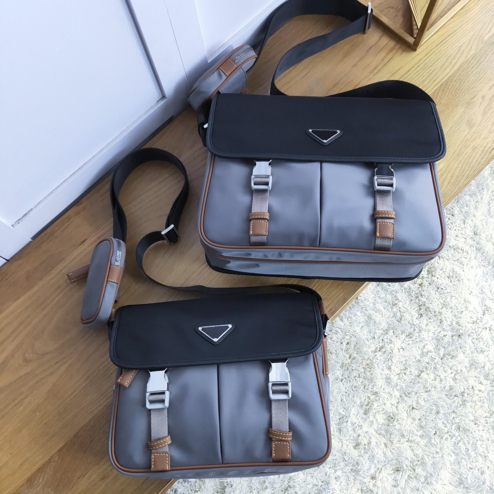 Nylon canvas with leather triangle postmans bag single shoulder crossbar buckle flap cloth bag messenger bag multi compartment