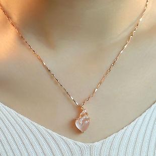 项链女士锁骨瓜子链简约玫瑰金芙蓉石粉水晶吊坠彩金情人节礼物