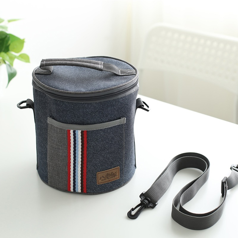 Oxford cloth bag barrel heat preservation bag portable rice box bag carrying lunch box round lunch box bag