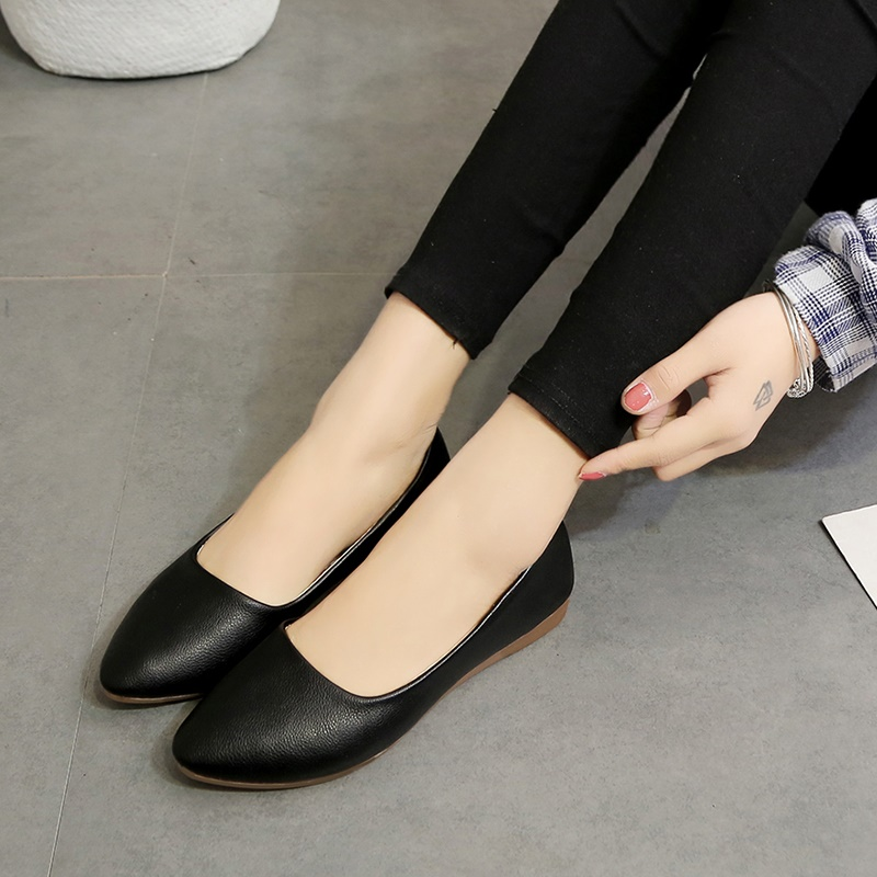 Flat shoes casual shoes soft soled work shoes black 2019 new summer soybean shoes single shoes for women