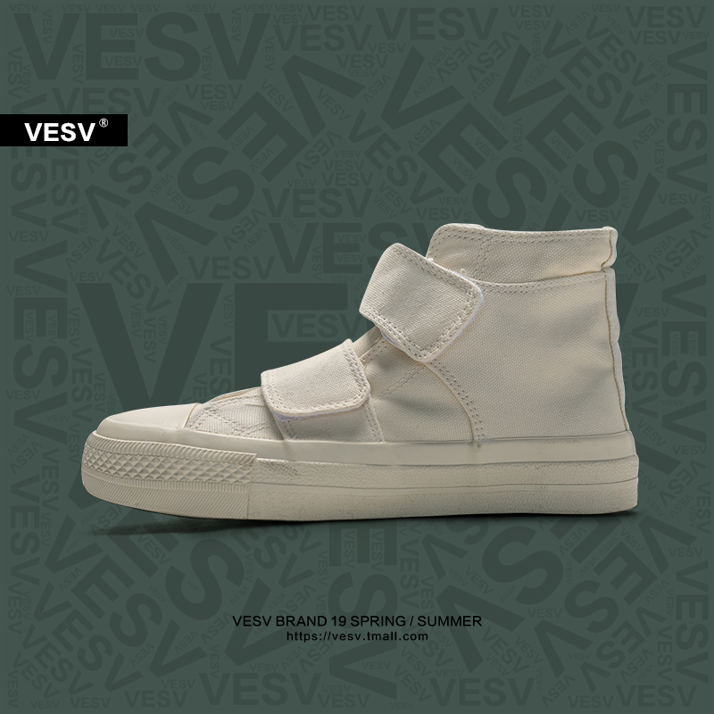 Vesv homemade Japanese Velcro high top canvas shoes womens Yamamoto womens shoes retro student casual breathable board shoes