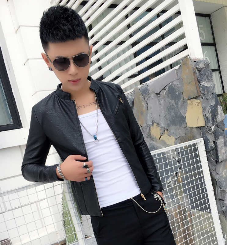 Collection of color mens leather clothes fashionable youth coat slim fashion PU leather jacket youth tight standing collar single car suit