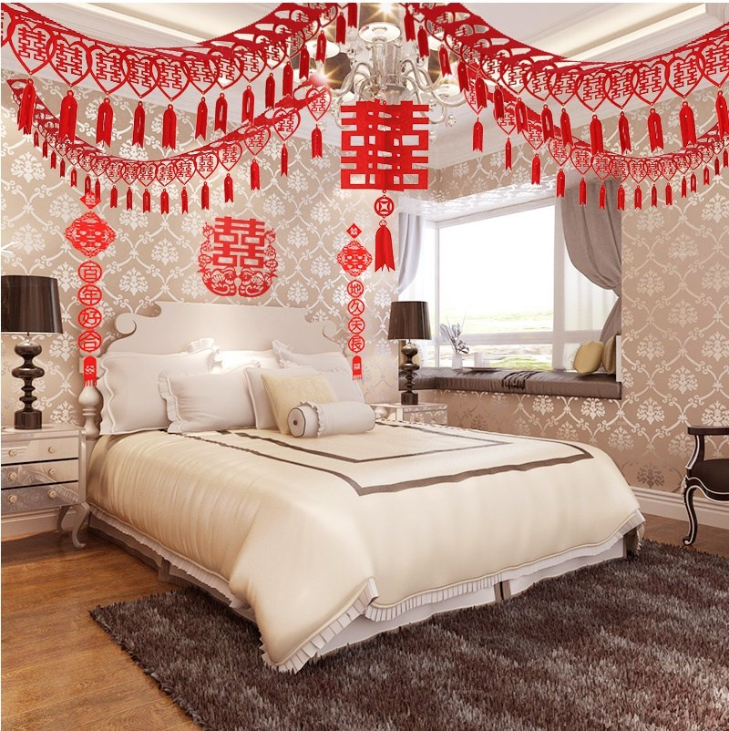 【送静电喜】创意结婚用品婚房装饰客厅卧室喜字拉花婚房布置用品