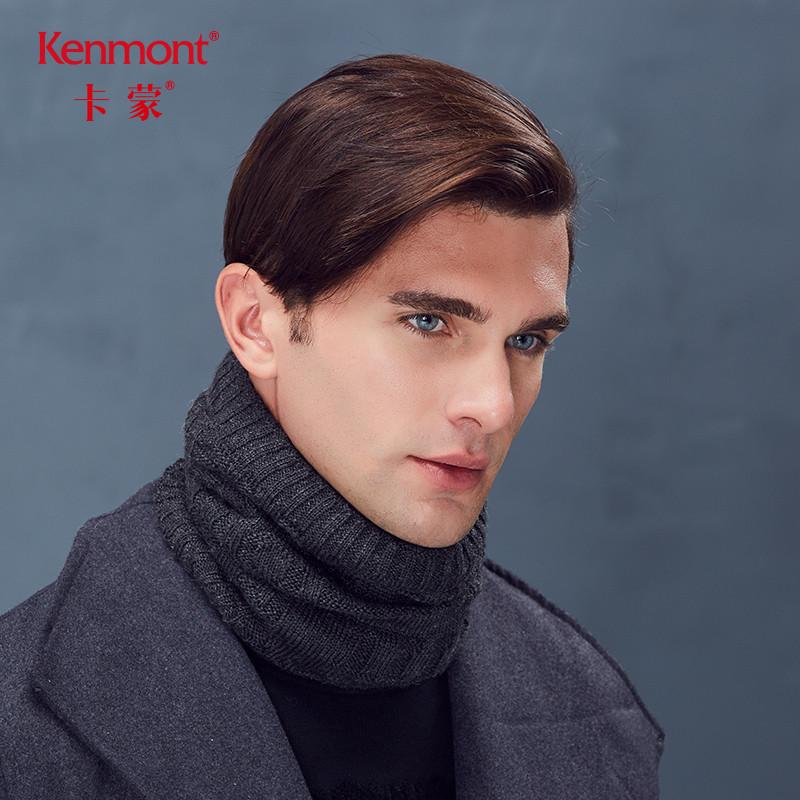 ~卡蒙加厚加绒围脖男户外骑车男士保暖冬季毛线脖套百搭围巾年轻~