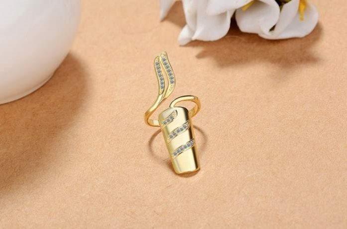 L ring armor set temperament inlaid diamond nail set finger set Japanese and Korean personality fashion nail ring for women
