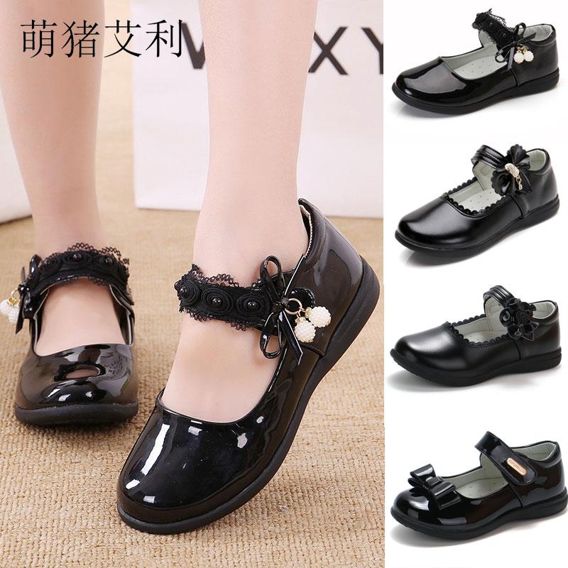女童皮鞋2021春秋新款小公主时尚软底黑色学生演出鞋白色舞蹈单鞋