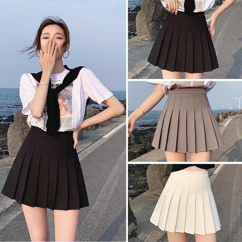百褶裙女夏灰色半身裙春秋黑色春款高腰显瘦西装jk白色小个子短裙