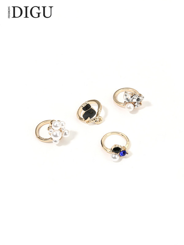 Japanese and Korean imitation pearl opening adjustable nail ring cute cat armor sleeve joint ring decoration ring