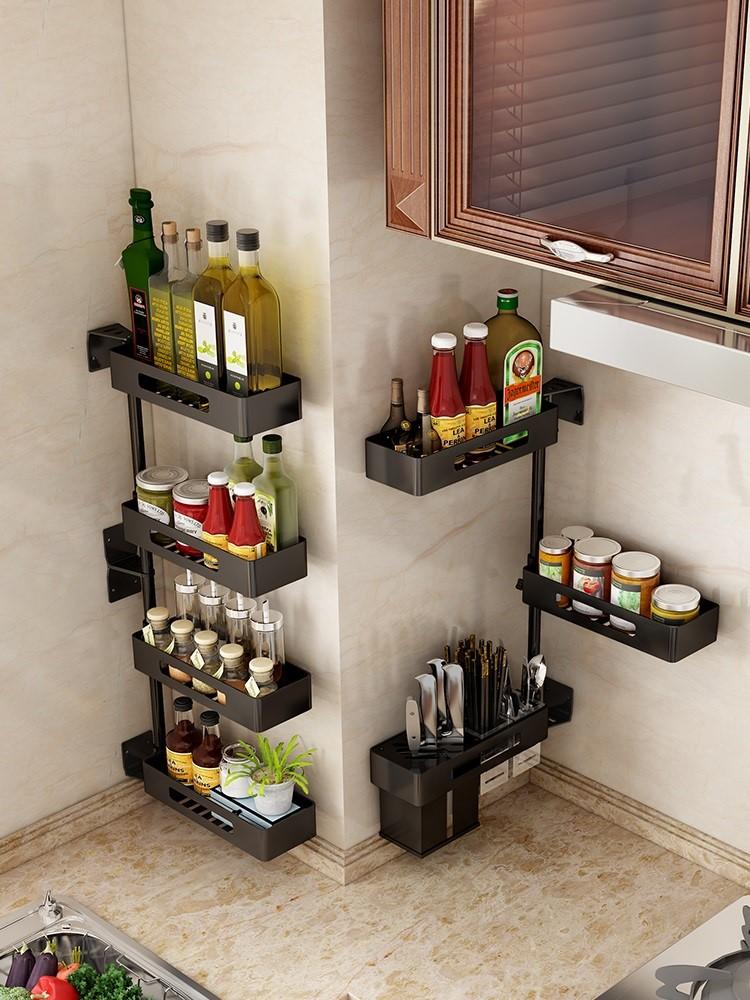 免打孔厨房转角置物架壁挂式可旋转调味料架子墙上收纳用品带刀架