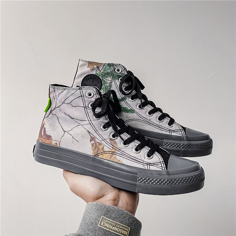 File Philharmonic official summer U7 worn high top canvas shoes mens versatile fashion printed trendy shoes for students
