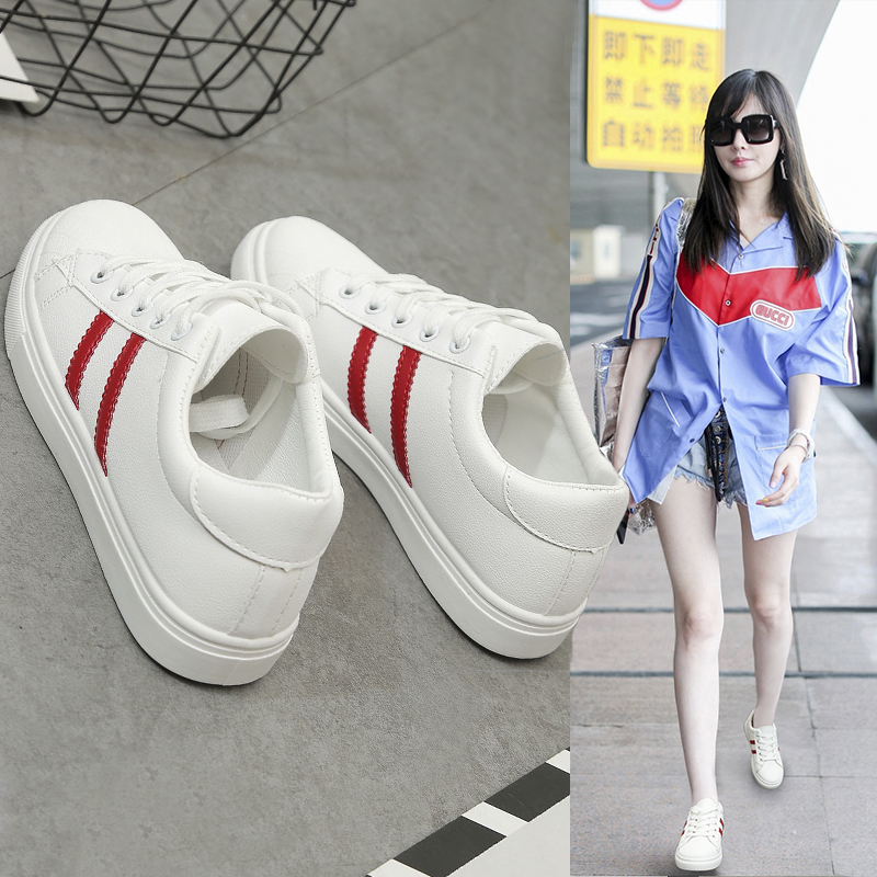 Fall 2019 new Hong Kong style hot small white shoes womens versatile flat shoes simple and comfortable sports student casual board shoes