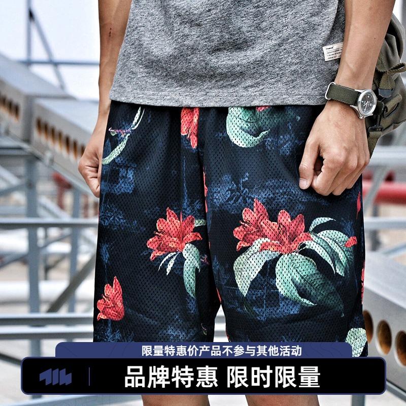 714street花卉迷彩透气网眼短裤