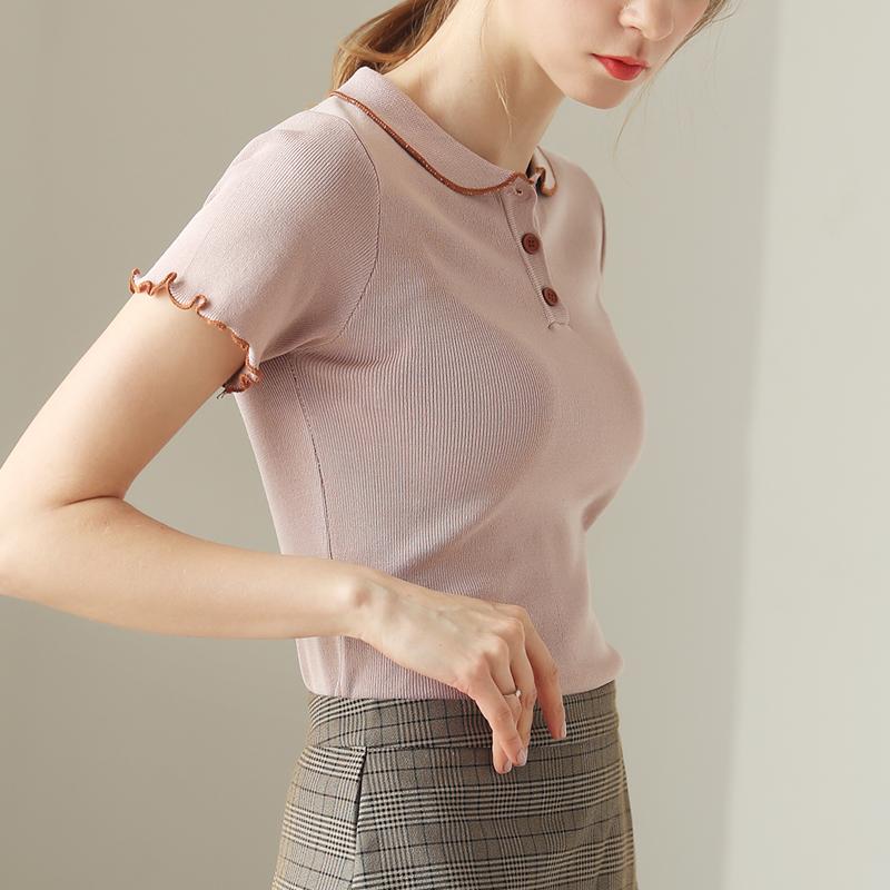娃娃领上衣女夏装2020新款Polo针织短袖女修身紧身冰丝打底衫薄款图片