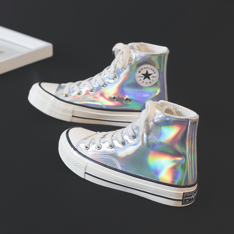 Chic colorful chameleon reflective bright canvas shoes spring and summer 2020 new night demon laser high top shoes flat bottom