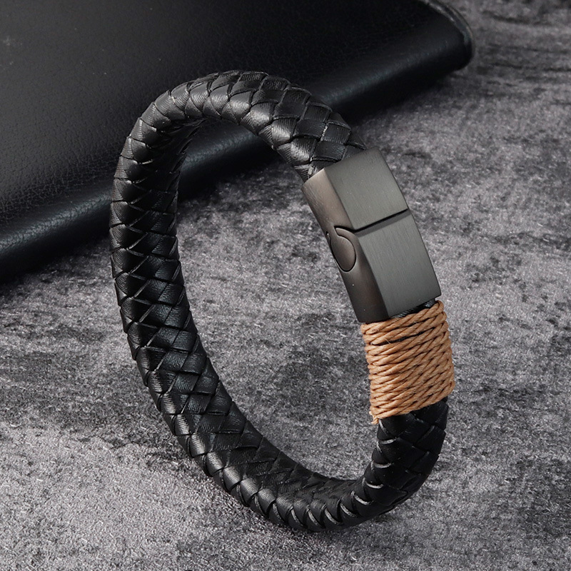 Leather stainless steel bracelet mens Black Leather magnet buckle woven Bracelet hand made leather bracelet l20131