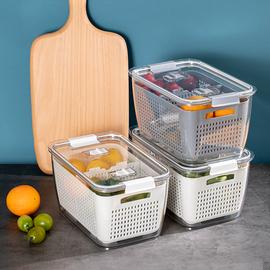 日本冰箱收纳盒厨房食品双层沥水篮塑料带盖大容量分格保鲜整理盒