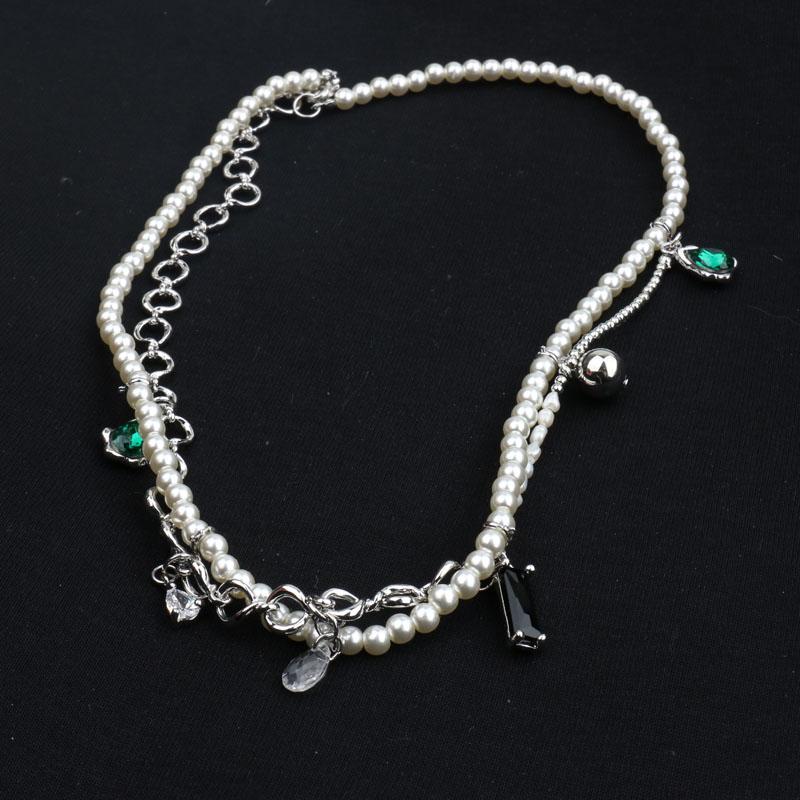 韩国新款ins双层珍珠宝石拼接毛衣链女高级感珍珠项链潮轻奢颈链