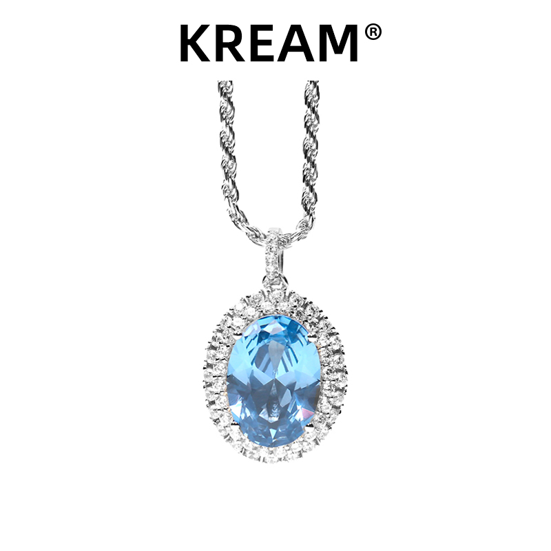 Original S925 pure silver lake Sapphire Pendant Necklace mens and womens hip-hop sweater chain