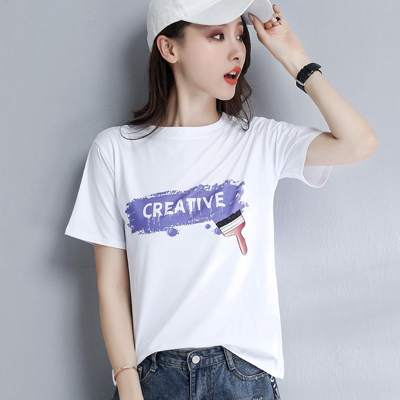 2019夏季新款韩版白色短袖T恤女宽松大码超火cec港风外穿上衣半袖图片