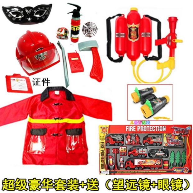 消防はままごと子供の消防士の道具帽子消防車のおもちゃの役を演じます。