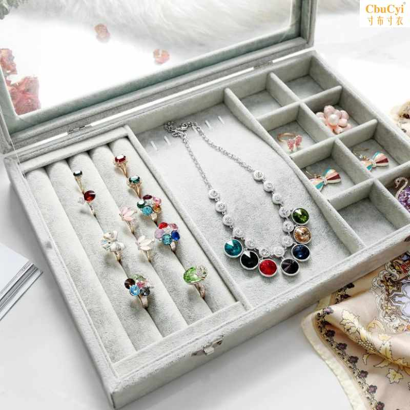 Ice flower velvet eardrop storage box extra large decorative box earring and dowry package household Bracelet display rack accessories