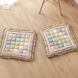 纤之色加厚田园居家布艺大号餐椅垫沙发坐垫全棉榻榻米屁股垫