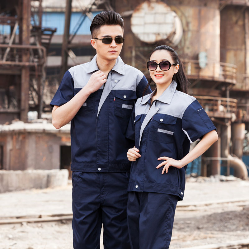 Summer short sleeve work clothes suit mens and womens labor protection clothing Porters automobile repair clothing tooling uniform mechanical wear-resistant workshop