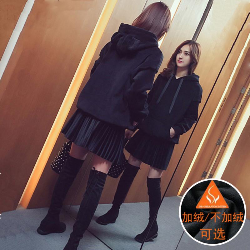 秋冬新款减龄显瘦加大码女装胖mm洋气金丝绒加绒卫衣短裙两件套装