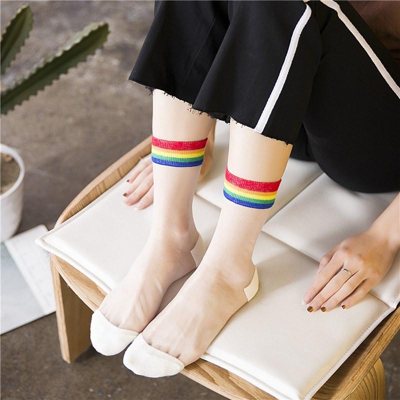 韩国条纹丝袜短袜子季超薄透明隐形玻璃水晶丝中筒袜女日系百搭,可领取10元淘宝优惠券