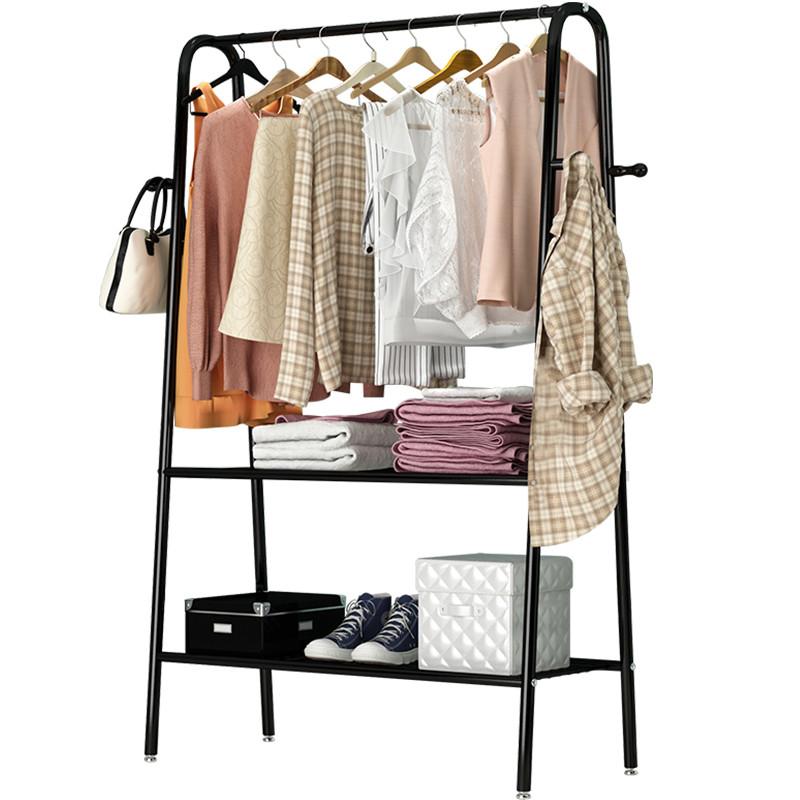 简易衣帽架落地挂衣架家用卧室内单杆式置物架移动晾晒衣服的架子