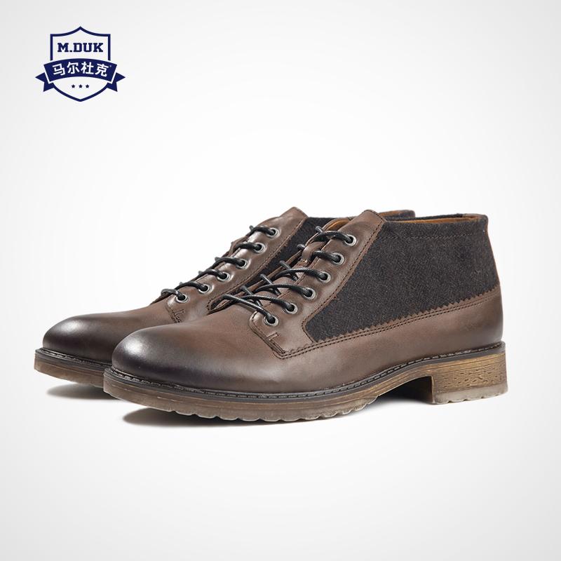 Giày da Marduk Martin giày nam kiểu dụng cụ Anh khởi động cho giới trẻ giày thủy triều giản dị Giày đế thấp có dây buộc ngắn - Giày ống